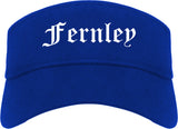 Fernley Nevada NV Old English Mens Visor Cap Hat Royal Blue