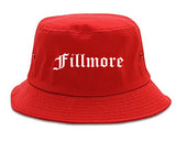 Fillmore California CA Old English Mens Bucket Hat Red