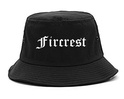 Fircrest Washington WA Old English Mens Bucket Hat Black