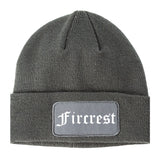 Fircrest Washington WA Old English Mens Knit Beanie Hat Cap Grey