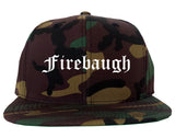 Firebaugh California CA Old English Mens Snapback Hat Army Camo