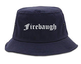 Firebaugh California CA Old English Mens Bucket Hat Navy Blue