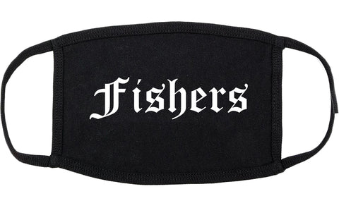 Fishers Indiana IN Old English Cotton Face Mask Black
