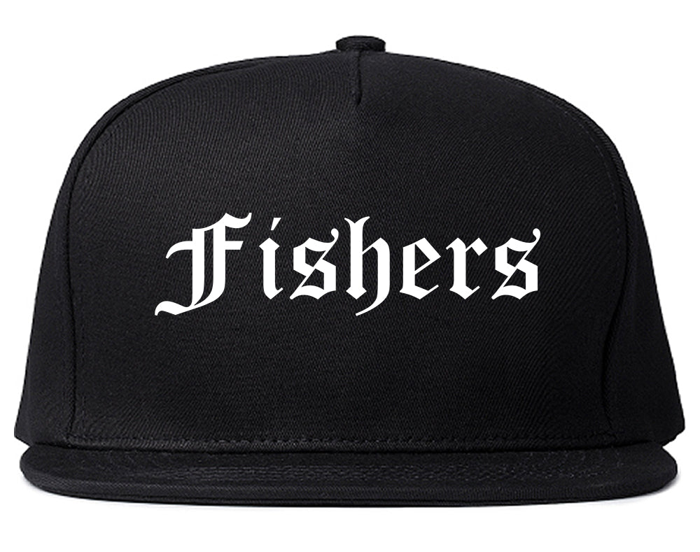 Fishers Indiana IN Old English Mens Snapback Hat Black