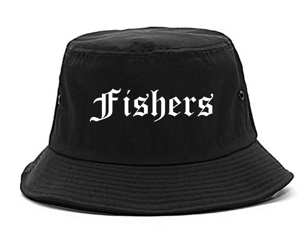 Fishers Indiana IN Old English Mens Bucket Hat Black