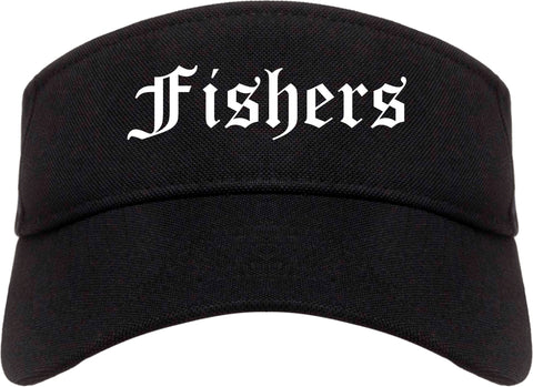 Fishers Indiana IN Old English Mens Visor Cap Hat Black