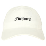 Fitchburg Massachusetts MA Old English Mens Dad Hat Baseball Cap White