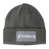 Fitchburg Massachusetts MA Old English Mens Knit Beanie Hat Cap Grey