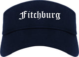 Fitchburg Massachusetts MA Old English Mens Visor Cap Hat Navy Blue