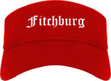 Fitchburg Massachusetts MA Old English Mens Visor Cap Hat Red