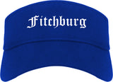 Fitchburg Massachusetts MA Old English Mens Visor Cap Hat Royal Blue