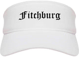 Fitchburg Massachusetts MA Old English Mens Visor Cap Hat White