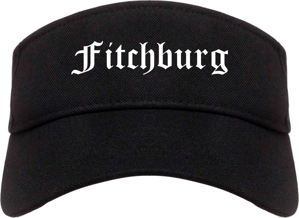 Fitchburg Wisconsin WI Old English Mens Visor Cap Hat Black