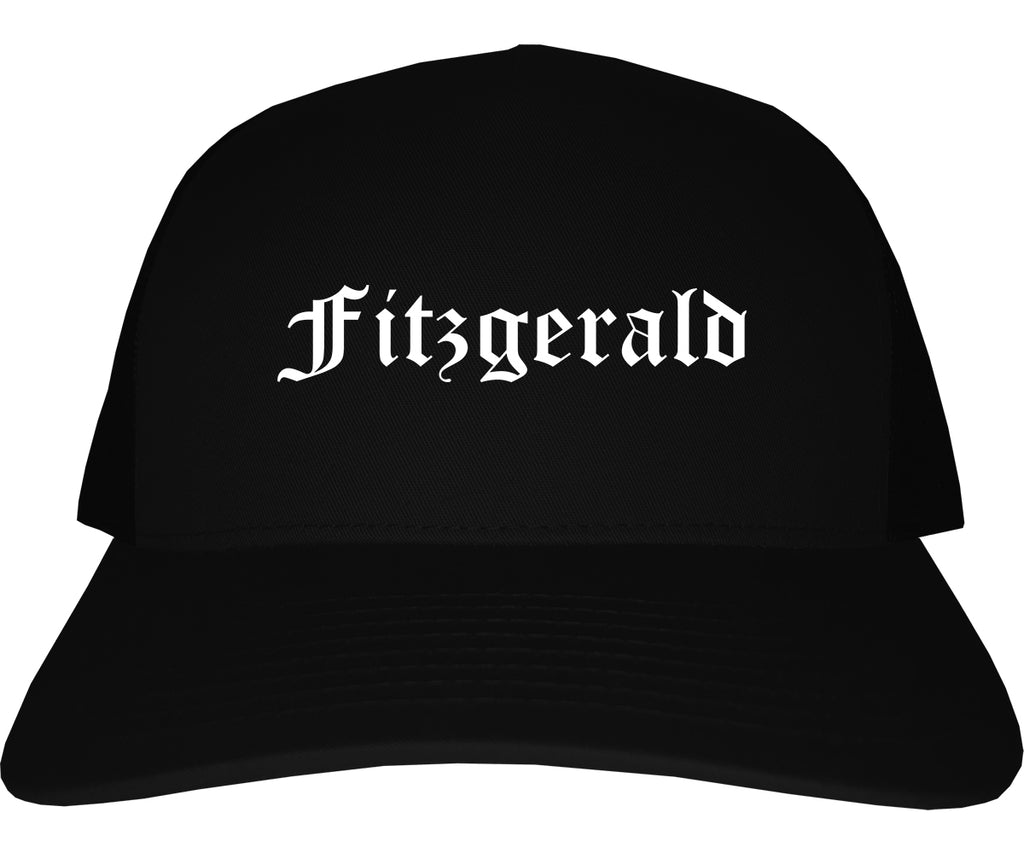Fitzgerald Georgia GA Old English Mens Trucker Hat Cap Black