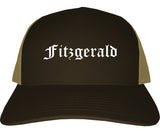 Fitzgerald Georgia GA Old English Mens Trucker Hat Cap Brown