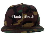Flagler Beach Florida FL Old English Mens Snapback Hat Army Camo