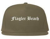 Flagler Beach Florida FL Old English Mens Snapback Hat Grey