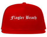 Flagler Beach Florida FL Old English Mens Snapback Hat Red