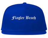 Flagler Beach Florida FL Old English Mens Snapback Hat Royal Blue