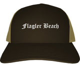 Flagler Beach Florida FL Old English Mens Trucker Hat Cap Brown