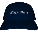 Flagler Beach Florida FL Old English Mens Trucker Hat Cap Navy Blue