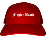 Flagler Beach Florida FL Old English Mens Trucker Hat Cap Red
