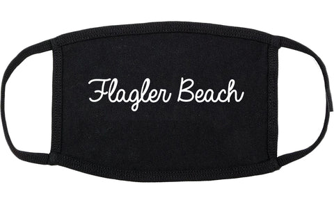 Flagler Beach Florida FL Script Cotton Face Mask Black