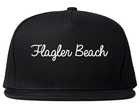 Flagler Beach Florida FL Script Mens Snapback Hat Black