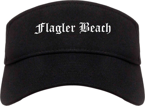 Flagler Beach Florida FL Old English Mens Visor Cap Hat Black