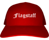 Flagstaff Arizona AZ Old English Mens Trucker Hat Cap Red