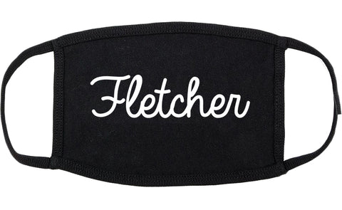 Fletcher North Carolina NC Script Cotton Face Mask Black