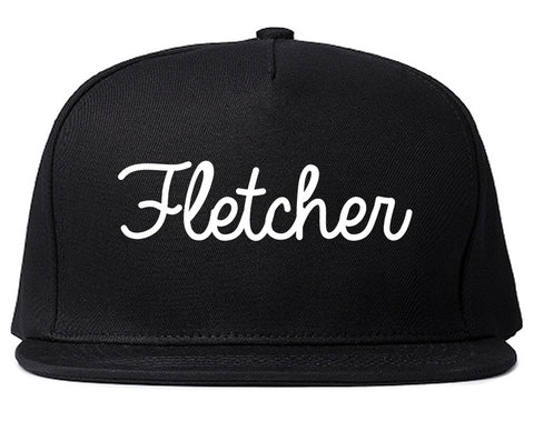 Fletcher North Carolina NC Script Mens Snapback Hat Black