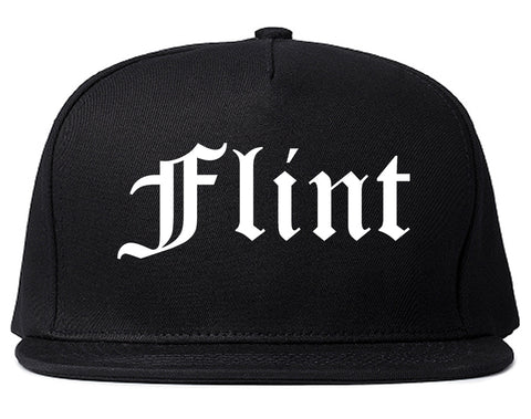 Flint Michigan MI Old English Mens Snapback Hat Black