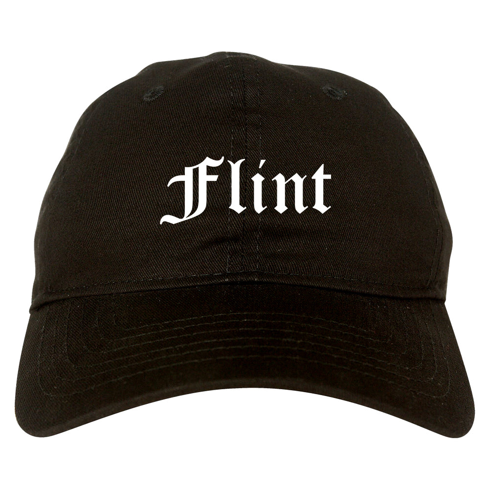 Flint Michigan MI Old English Mens Dad Hat Baseball Cap Black