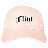 Flint Michigan MI Old English Mens Dad Hat Baseball Cap Pink