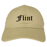 Flint Michigan MI Old English Mens Dad Hat Baseball Cap Tan