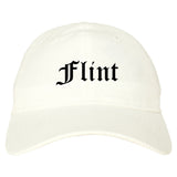 Flint Michigan MI Old English Mens Dad Hat Baseball Cap White