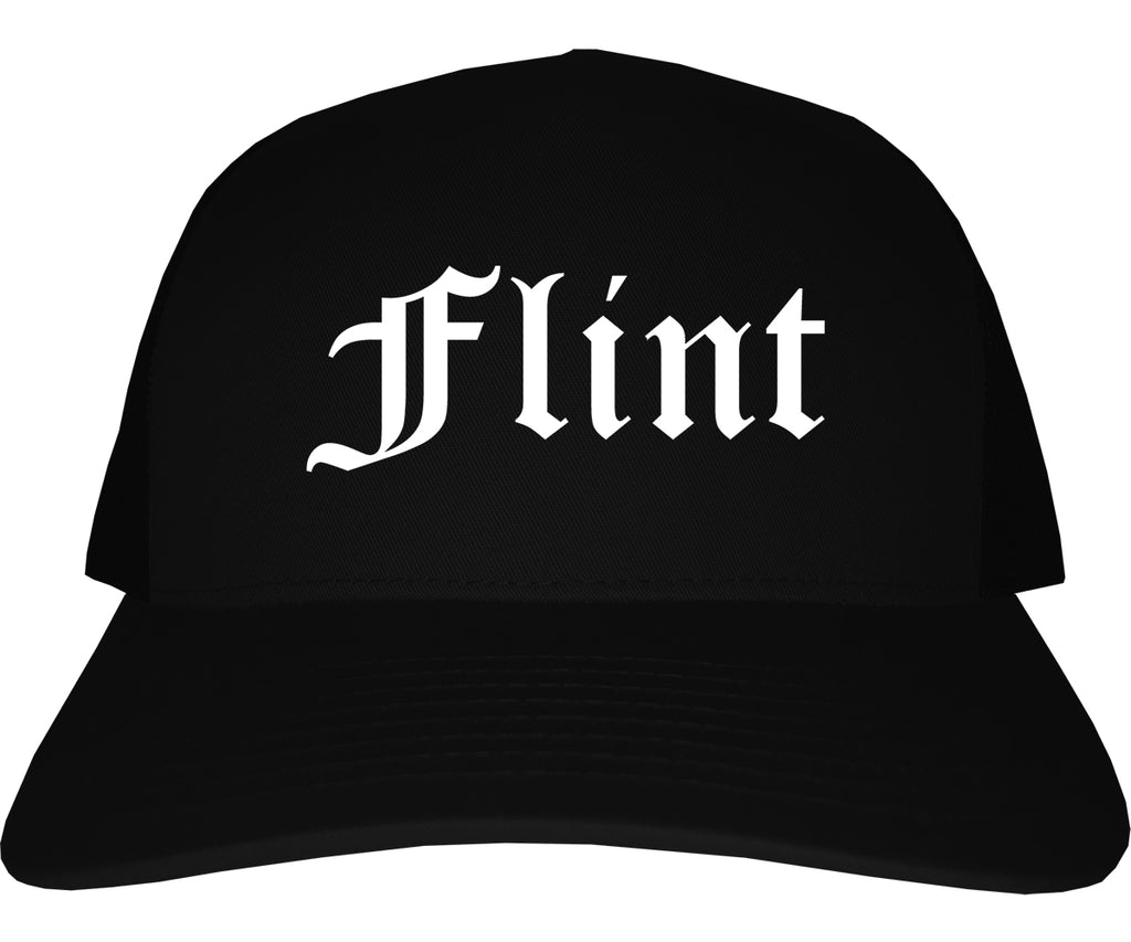 Flint Michigan MI Old English Mens Trucker Hat Cap Black