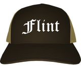 Flint Michigan MI Old English Mens Trucker Hat Cap Brown