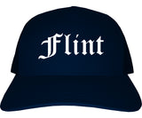 Flint Michigan MI Old English Mens Trucker Hat Cap Navy Blue