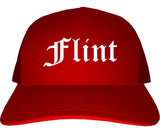 Flint Michigan MI Old English Mens Trucker Hat Cap Red