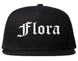 Flora Illinois IL Old English Mens Snapback Hat Black