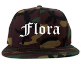 Flora Illinois IL Old English Mens Snapback Hat Army Camo