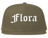 Flora Illinois IL Old English Mens Snapback Hat Grey