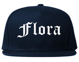 Flora Illinois IL Old English Mens Snapback Hat Navy Blue