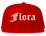 Flora Illinois IL Old English Mens Snapback Hat Red