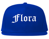 Flora Illinois IL Old English Mens Snapback Hat Royal Blue