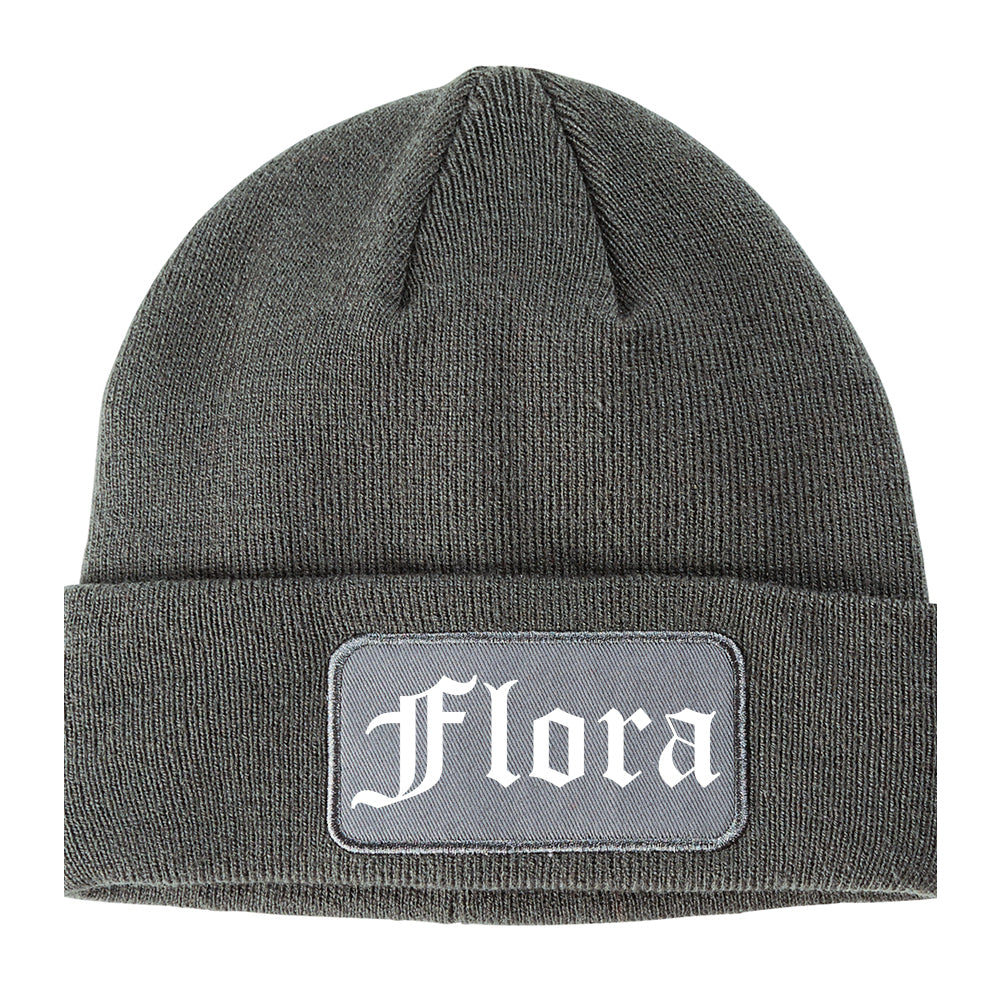 Flora Illinois IL Old English Mens Knit Beanie Hat Cap Grey