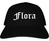 Flora Illinois IL Old English Mens Trucker Hat Cap Black
