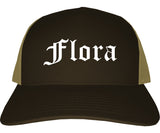 Flora Illinois IL Old English Mens Trucker Hat Cap Brown